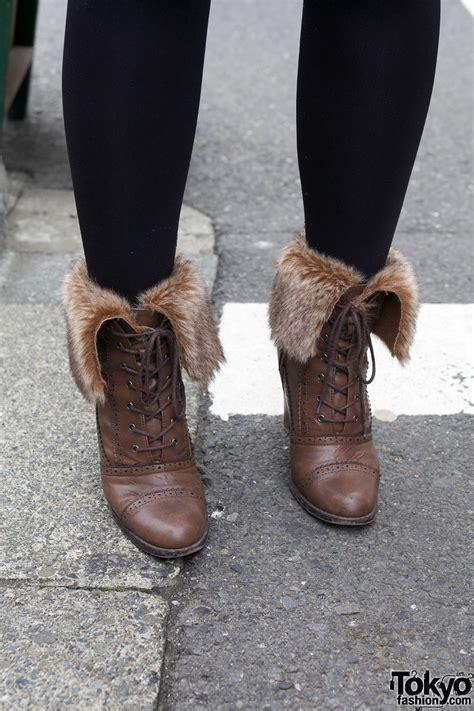 black tights fur lined boots  harajuku tokyo fashion