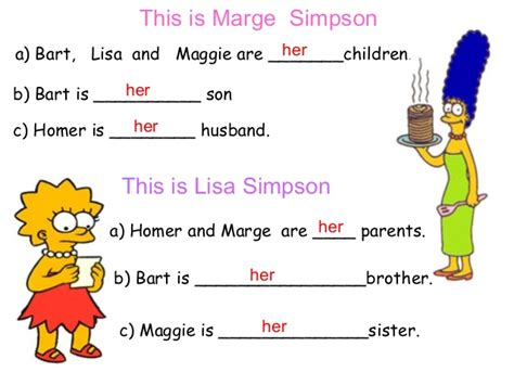 possessive adjectives  simpsons