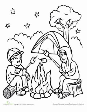 campfire coloring page educationcom