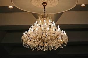 luxury, crystal, chandelier, hanging, under, ceiling, in, the, room, stock, photo