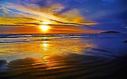 Ocean Sunset Beach Wave Desktop Nature Bright
