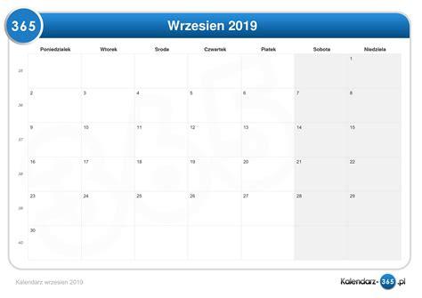 kalendarz wrzesien