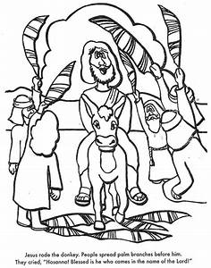 Jesus Riding On A Donkey Coloring Page Metello