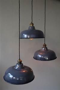Suspension Luminaire Industriel : abat jour emaillee lampe industrielle grise ~ Teatrodelosmanantiales.com Idées de Décoration