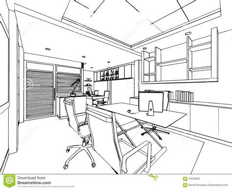 bureau dessin outline sketch drawing perspective of a space office stock