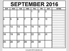 Free Monthly Calendar 2016 Printable With Notes September