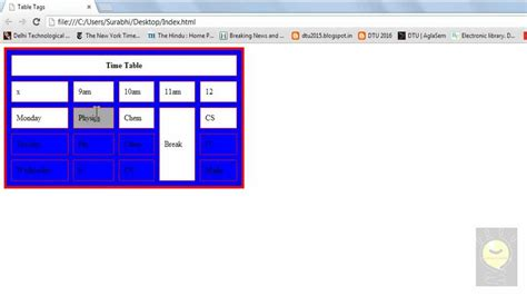 html color table html tutorial 7 table background color