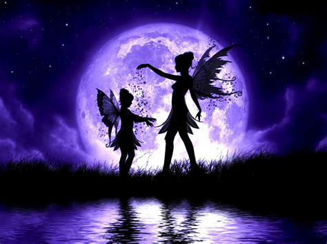 moon and stars fairy l fairies child wings lake water grass night sky clouds