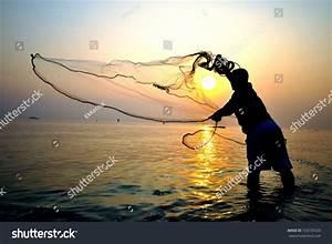 Throwing Fishing Net During Sunrise Thailand Stock Photo ...