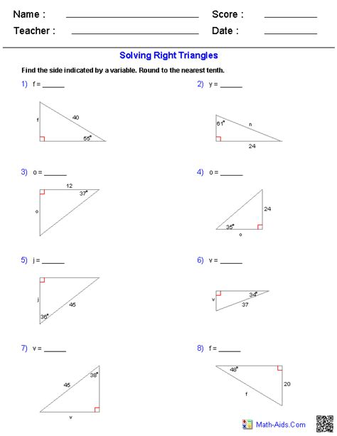 solving right triangles worksheets math aids