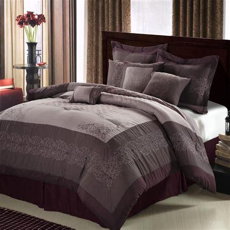 florence plum lavender silver 8 comforter bed in a bag set new ebay - Plum Comforter Sets Queen