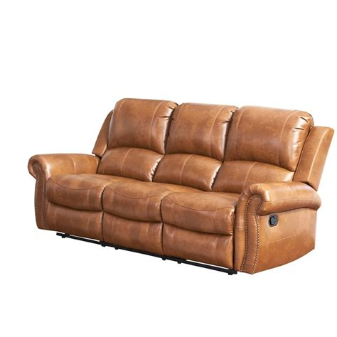abbyson living leather sofa abbyson living winston leather reclining sofa in brown
