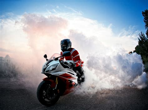 wallpaper biker burnout smoke hd  automotive