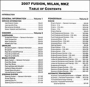 2007 Fusion  Milan  Mkz Repair Shop Manual 2 Volume Set