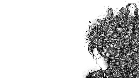 Abstract Creativity Black And White Wallpaper by Black And White Ink Artwork 1920x1080 Wallpaper High