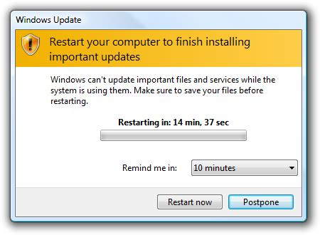 minimizing restarts after automatic updating in windows