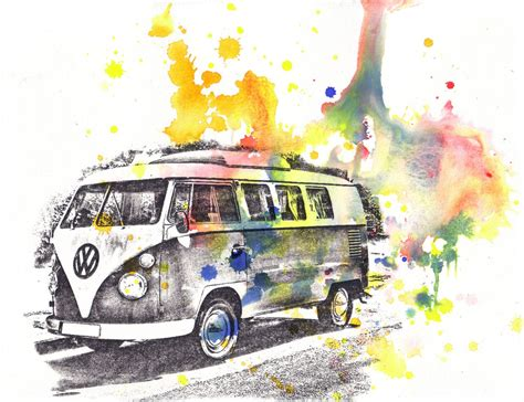 volkswagen old van drawing retro vintage art volkswagen vw van bus watercolor