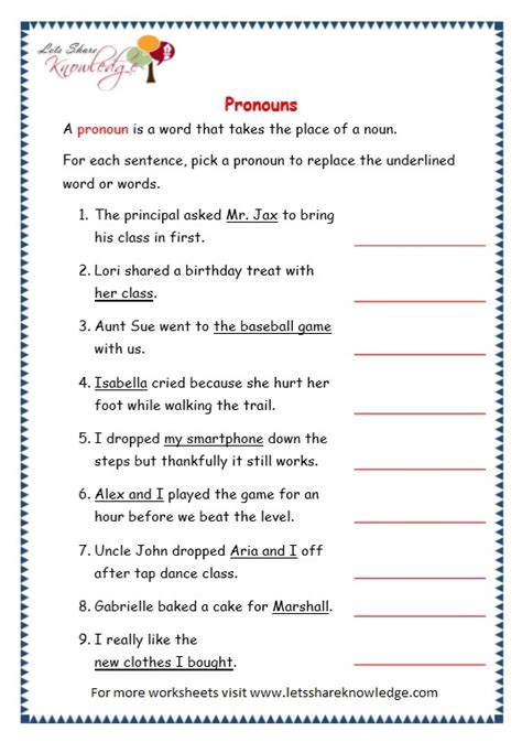 grade 3 grammar topic 9 pronouns worksheets lets share