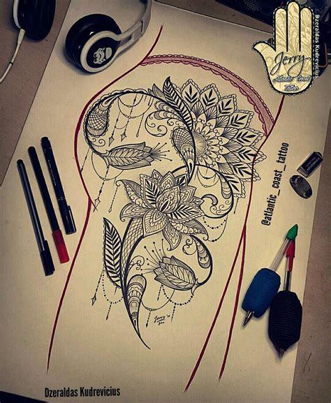 mandala lotus tattoo idea drawing lace dotwork thigh
