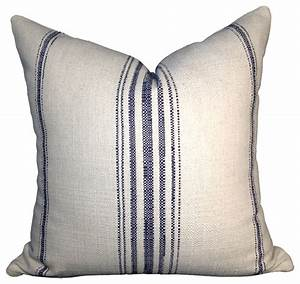 Cotton Off White Pillow Cover with Navy blue stripes
