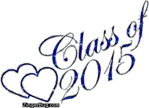 Class Of 2015 Royal Blue Glitter With Hearts Glitter