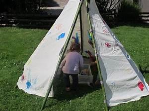 Tipi Enfant Exterieur : fabriquer un tipi avec bambous et toile indian party ~ Teatrodelosmanantiales.com Idées de Décoration