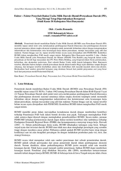 Faktor – Faktor Penyebab Badan Usaha Milik Daerah (Bumd