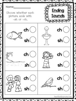 10 ch and sh ending digraph worksheets 1st grade