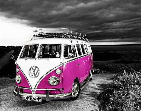 Vw Camper Van Pink Canvas Stretched Wall Art Poster Print