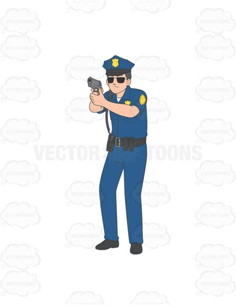 policeman with gun clipart black and white officer holding gun at someone clipart