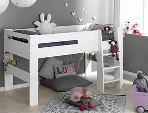 Lit En Hauteur Enfant : lit enfant sofamo london blanc lit mi hauteur 90x190 pas ~ Melissatoandfro.com Idées de Décoration
