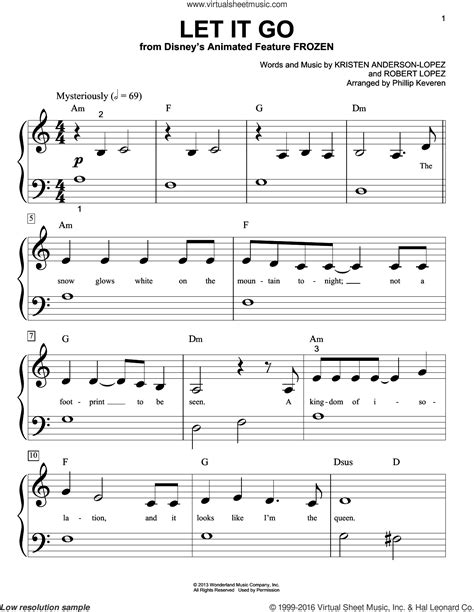 Download app in play store for notes: Lopez - Let It Go sheet music for piano solo (big note book)