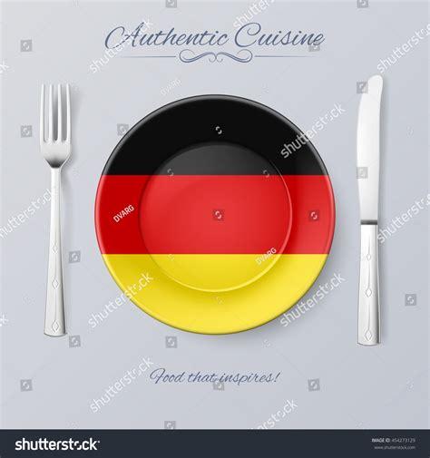 authentic cuisine authentic cuisine germany plate german flag stock vector