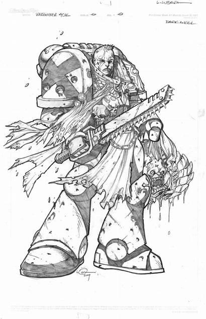 Angel Dark Coloring Warhammer Artwork Warhammer40k 40k