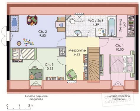 plan maison a etage 3 chambres plan de maison avec mezzanine tous les plans de maisons