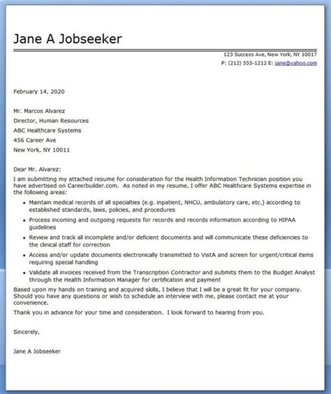 cover letter health information technician creative resume design templates word pinterest