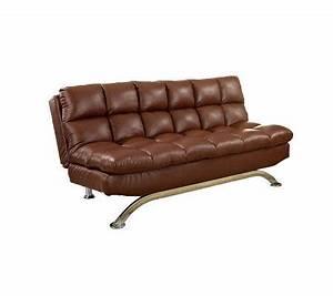 Aristo i faux leather futon sofa qvccom for Qvc sofa bed