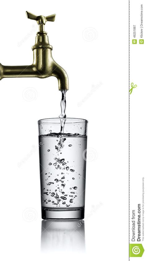 no water from kitchen faucet running faucet and glass of water stock photo image