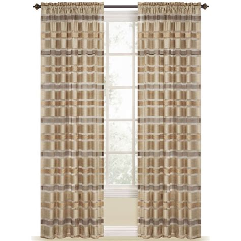 shop style selections duran 84 in straw polyester rod pocket light filtering sheer single