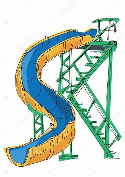 Slide Cartoon Water Park Vector Illustration Slides