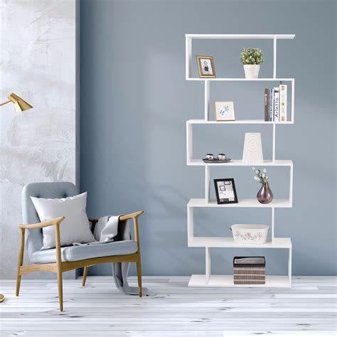 S Shaped Bookcase by Giantex 6 Tier S Shaped Bookcase Z Shelf Style Storage