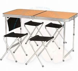 Table Pliante Avec Chaise : table pliante valise belfort 39 39 avec 4 tabourets 120x60cm sk101129 ~ Teatrodelosmanantiales.com Idées de Décoration