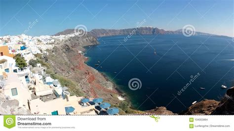 Amazing Panoramic View Of Oia And Fira Far Away Santorini