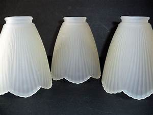 Petal shaped frosted white glass ceiling fan globe light