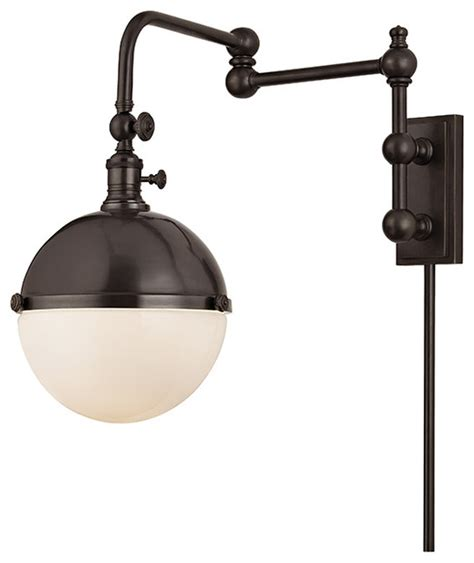 stanley 1 light wall sconce old bronze traditional swing arm wall ls by lclick