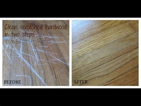 Clean scratches off a hardwood floor using mayonnaise