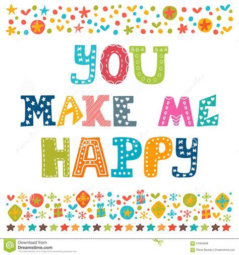 you make me happy concept postcard stock
