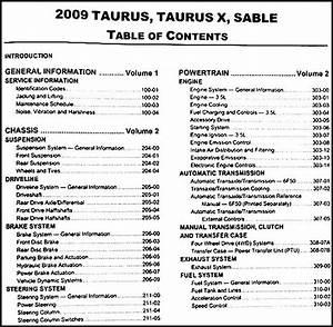 2009 Ford Taurus And Sable Repair Shop Manual Original 2