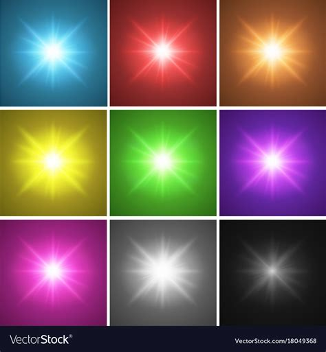 Different Color Lights by Nine Different Color Backgrounds With Bright Light