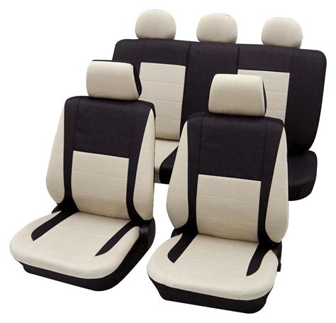 housse siege polo black beige car seat cover set for honda civic